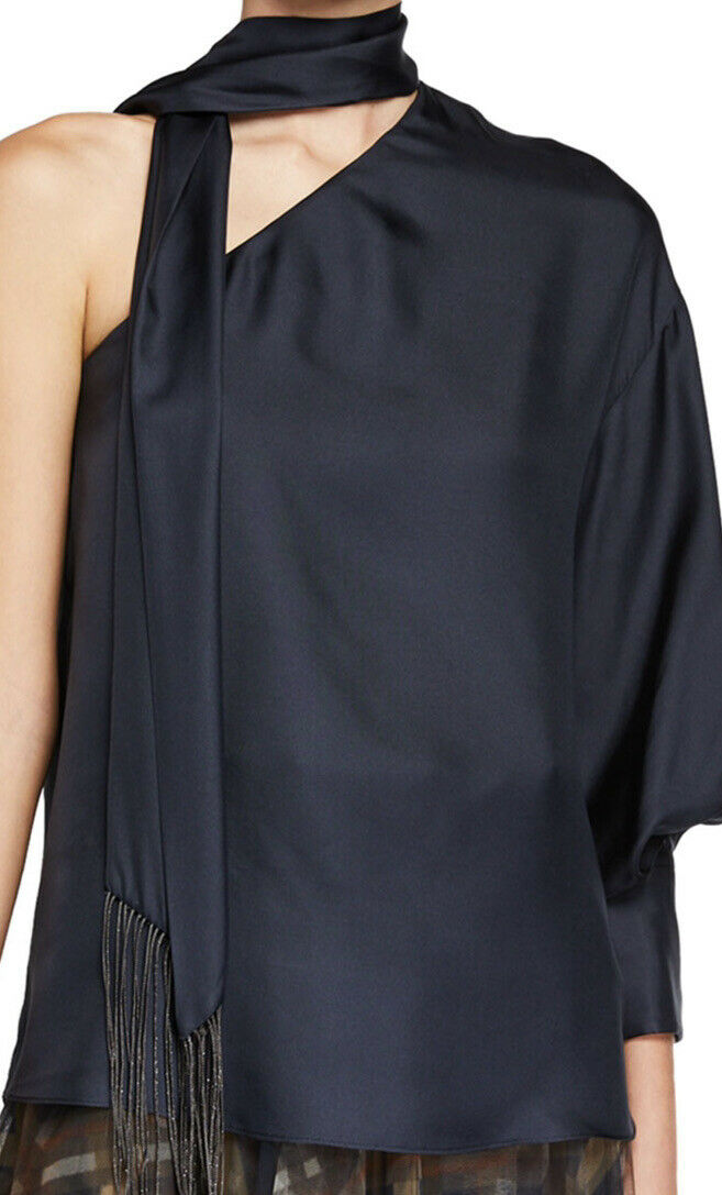 New $2095 Brunello Cucinelli Women's One-Shoulder Silk Blouse DK Blue M Italy
