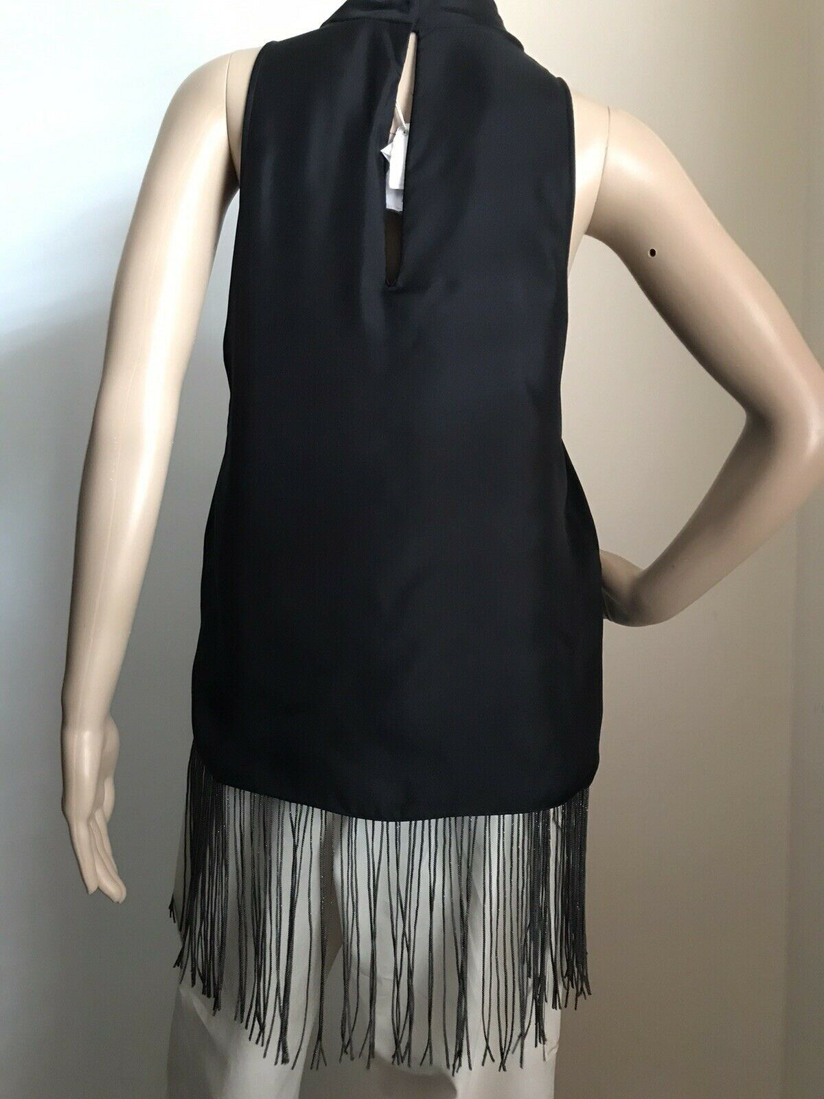 New $3495 Brunello Cucinelli Women's Sleeveless Silk Blouse Black M Italy