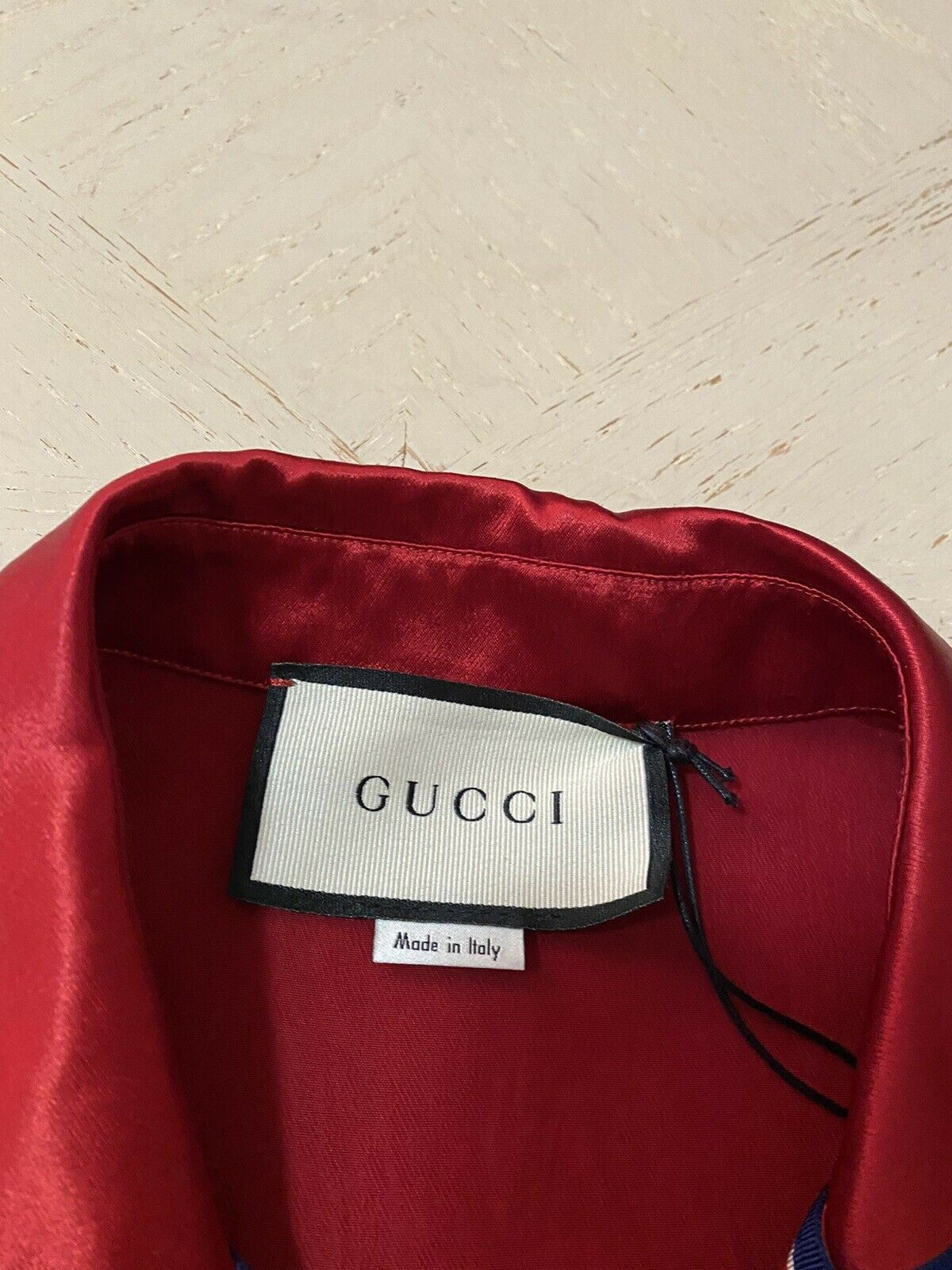 New $1880 Gucci Men's Short Sleeve Shirt Black/Red Size S Italy