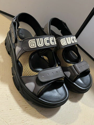 NIB $890 Gucci Mens Mesh Sega Sandal Shoes Gray/Yellow/Black 10 US/9 UK Italy