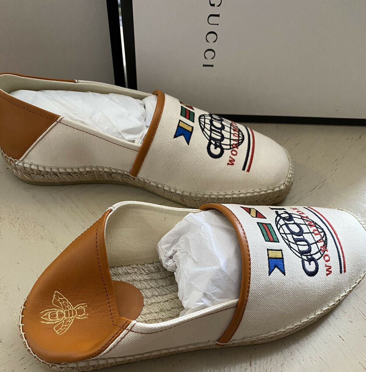 New Gucci Mens Canvas/Leather Espadrille Shoes White/Brown 10 US/9 UK Italy