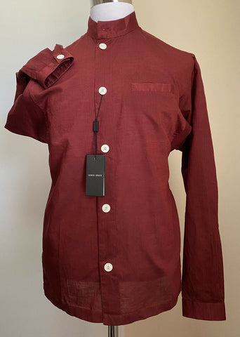 NWT $825 Giorgio Armani Mens Dress Shirt Burgundy 41/16 Italy