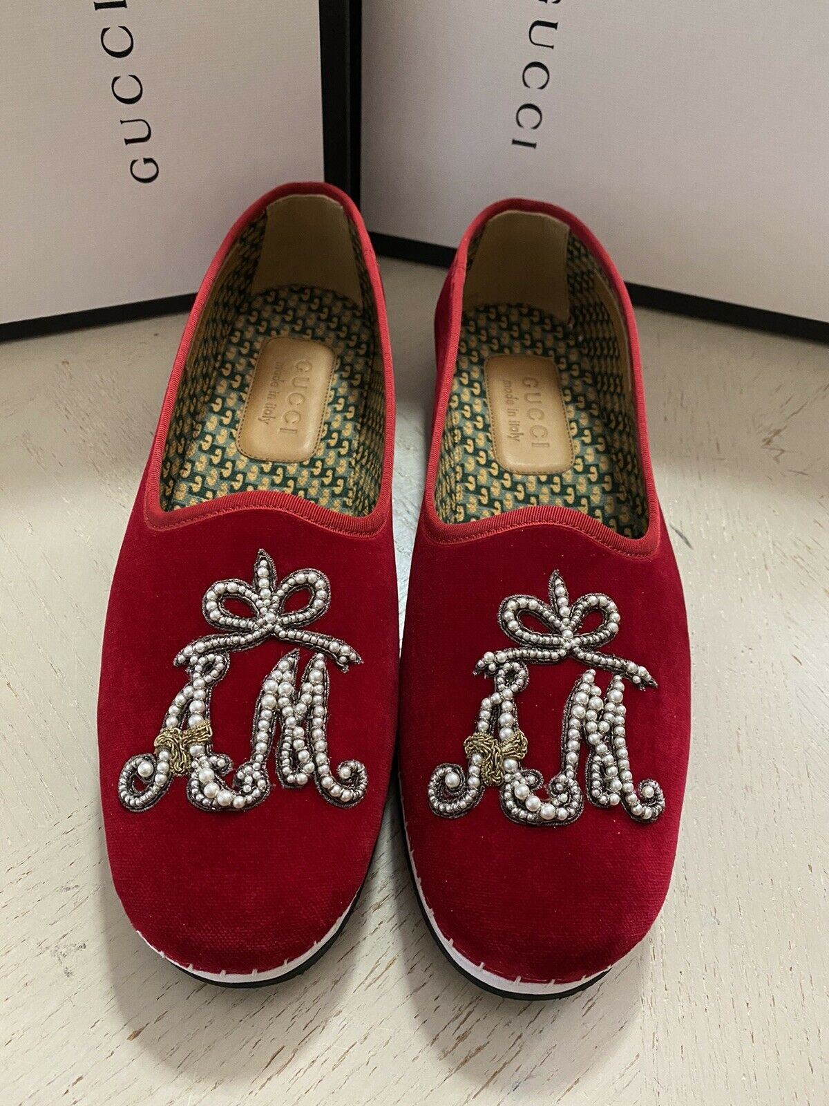 NIB $980 Gucci Mens Velvet Loafers Shoes Red 10.5 US / 9.5 UK