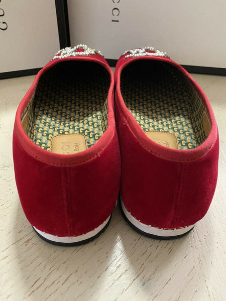 NIB $980 Gucci Mens Velvet Loafers Shoes Red 10  US / 9 UK