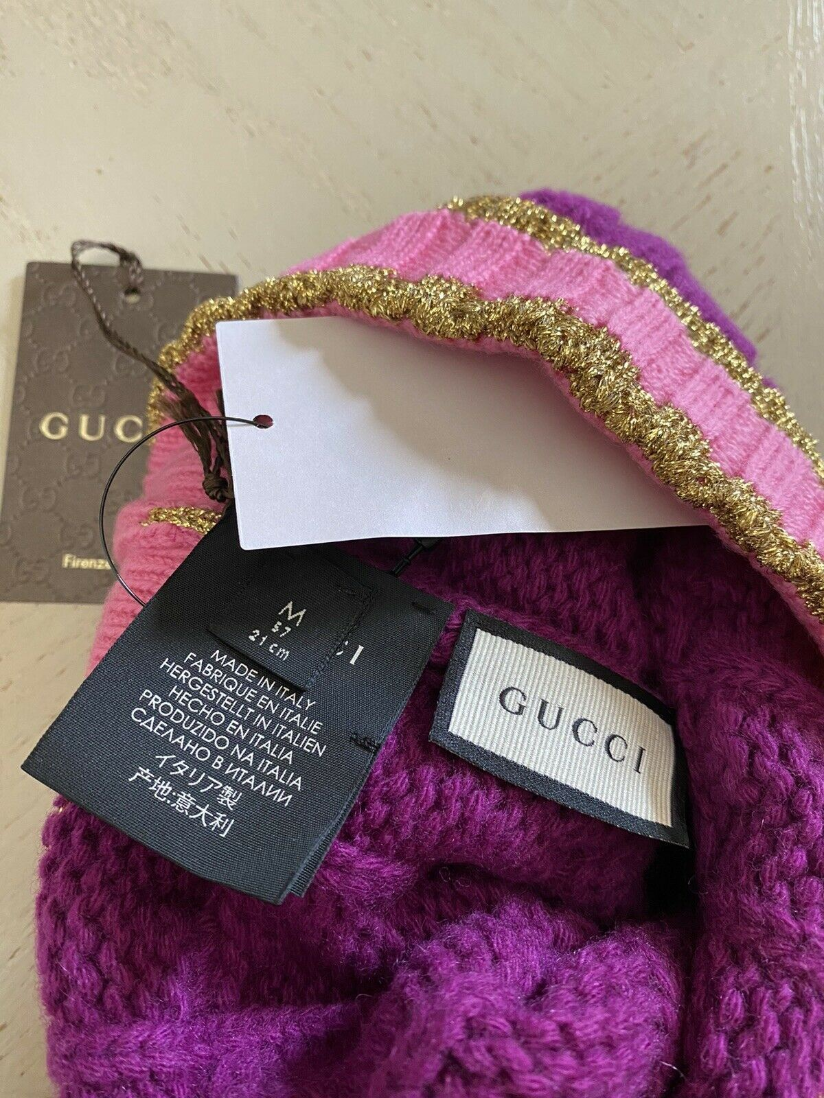 NWT $650 Gucci Womens Hat Magenta/Pink Size M Italy