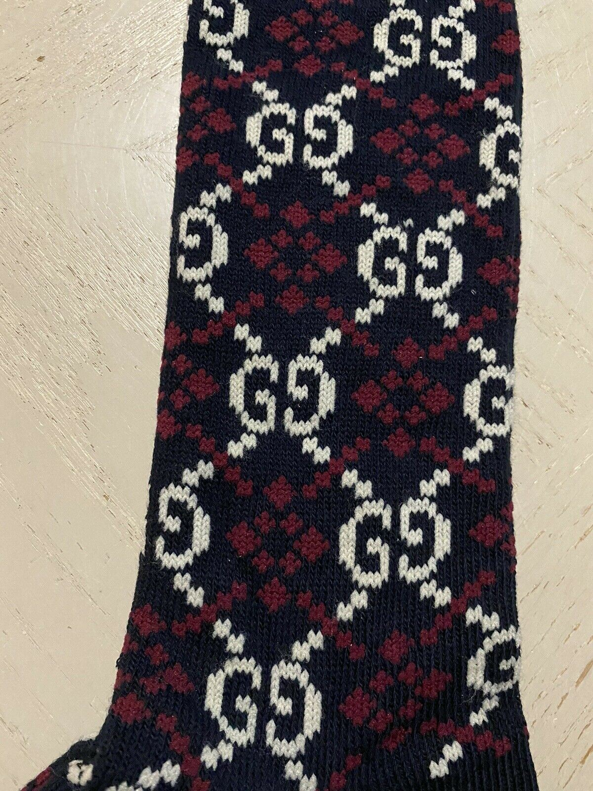 NWT Gucci Knee-high Socks GG Logo Navy/White/Red Size M Italy