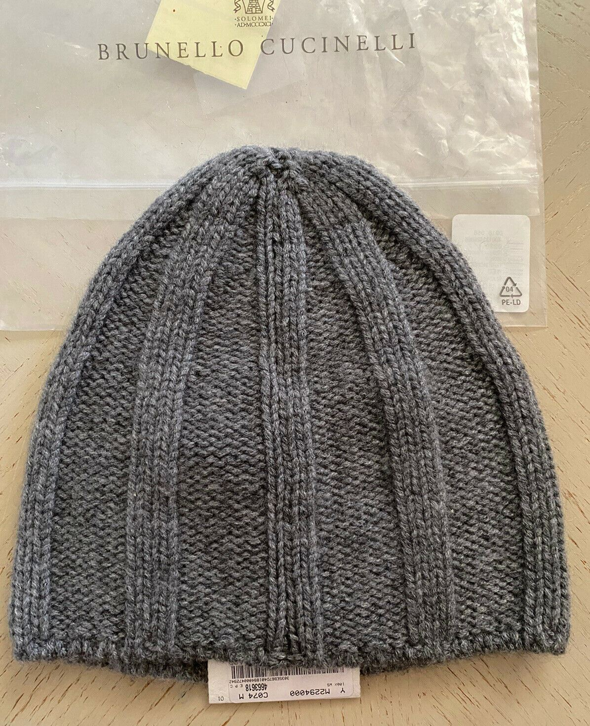 NWT $410 Brunello Cucinelli Men Rib-Knit Cashmere Beanie Hat Gray M Italy
