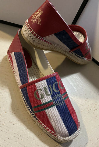 New Gucci Mens Canvas/Leather Espadrille Shoes Blue/Red/White 10.5 US/9.5 UK
