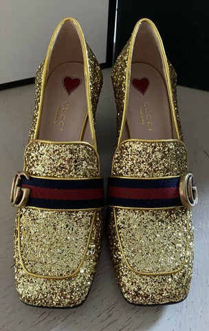 NIB $1380 Gucci Women's Leather Shoes Gold 6 US/36 Eu lIaly