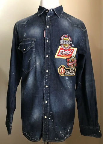 NWT $1090 Dsquared2 Mens Jeans Shirt  Blue Denim L-XL US ( 52 Eu ) Italy
