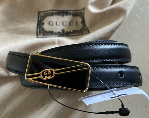 New $670 Gucci Men Leather Abjustable Selleria Buckle Belt Black 110/44