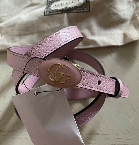 New Gucci Women's GG Enamel Bucle Leather Belt Pink 110/44 Italy