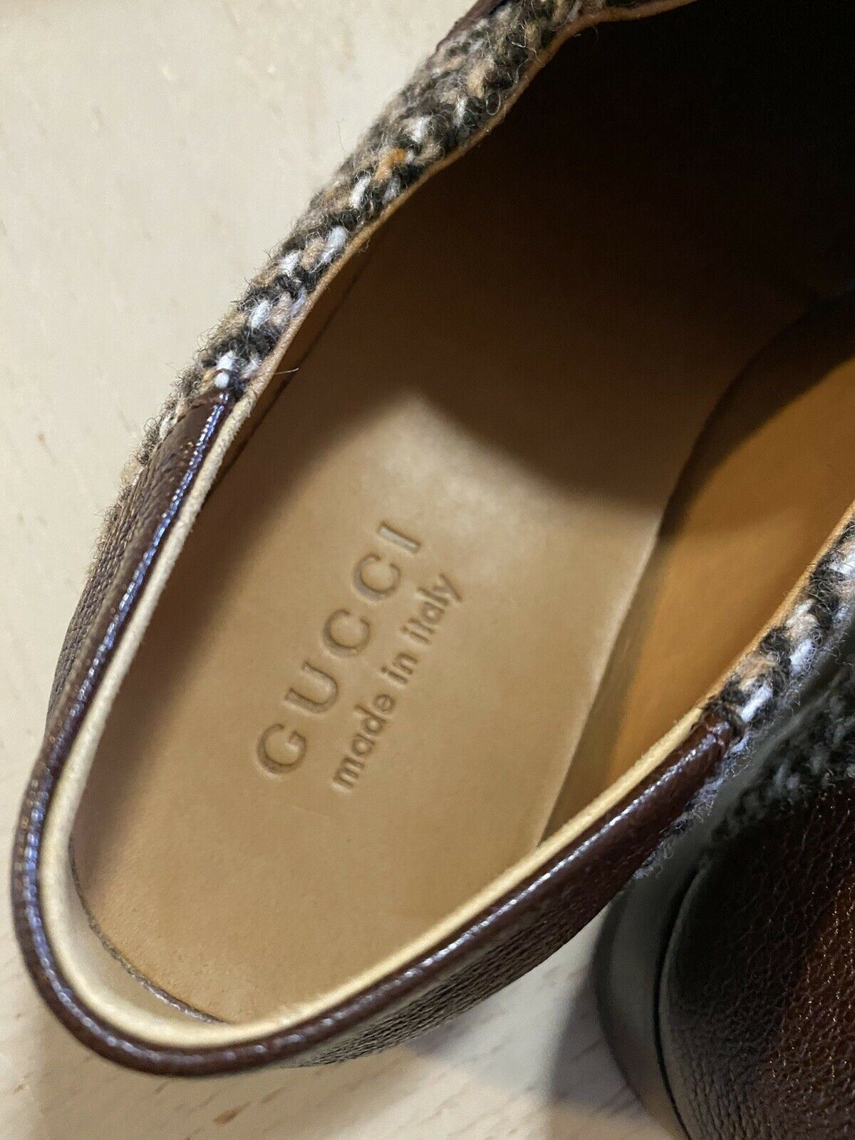 NIB $890 Gucci Mens Leather/Wool Loafers Sandal Shoes Brown 9.5 US / 8.5 UK