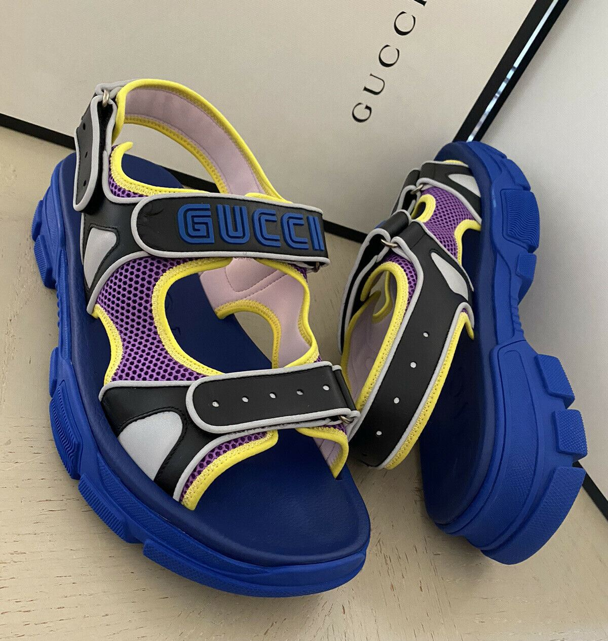NIB $890 Gucci Mens Mesh Sega Sandal Shoes Blue/Purple/Black 15 US/14 UK Italy