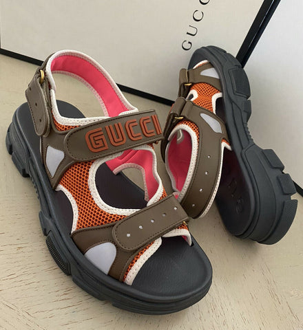 NIB $890 Gucci Men's Mesh Sega Sandal Shoes Brown/Black/Orange 11.5 US/10.5 UK