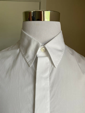 New $550 Fendi Men Solid Hidden-Button Point Collar Shirt White XL ( 42 Eu )