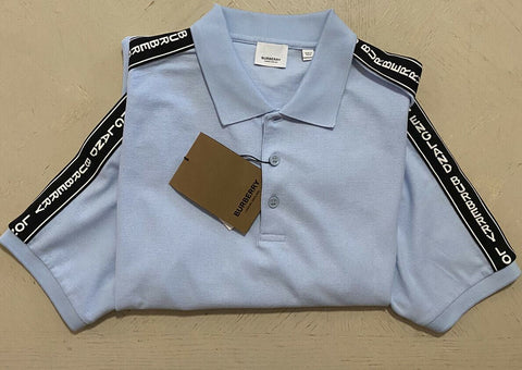 NWT $460 Burberry Mens Polo Shirt W/Logo Taping Pele Blue  Size XXL