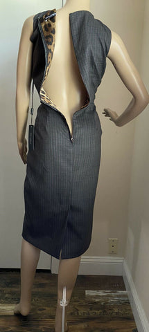 New $1695 Dolce&Gabbana Sleeveless Vneck Pin Stripe Dress Gr 12 US/48 It Italy
