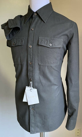 NWT $635 TOM FORD Mens Garment-Dyed Point-Collar Sport Shirt MD Brown 42/16.5