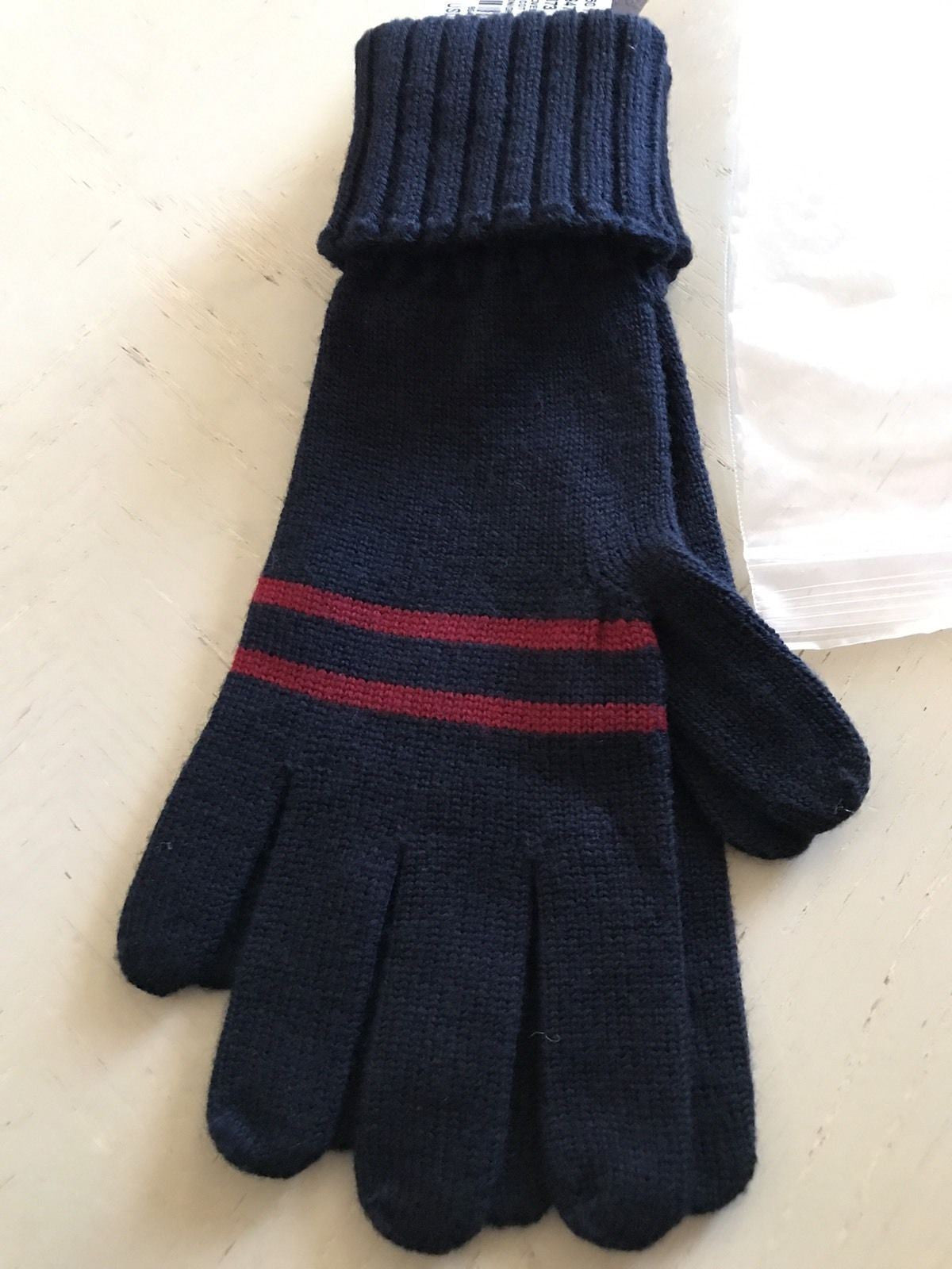 NWT $215 Gucci Women's Wool Gloves Blue M Italy - BAYSUPERSTORE