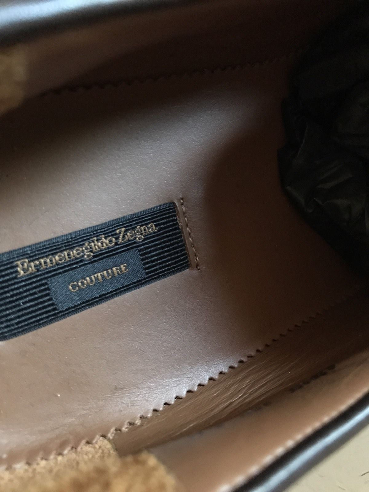 New $1450 Ermenegildo Zegna Couture Leather  Shoes Brown 8 US Hand made In Italy - BAYSUPERSTORE