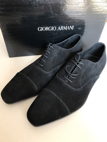 New $885 Giorgio Armani Men's Suede Shoes Black 10 ( 11 US ) Italy - BAYSUPERSTORE