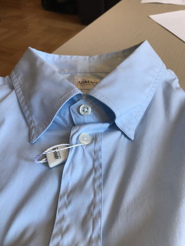 New $450 Armani Collezioni Men's Short Sleeve Shirt Blue 44/17.5 - BAYSUPERSTORE