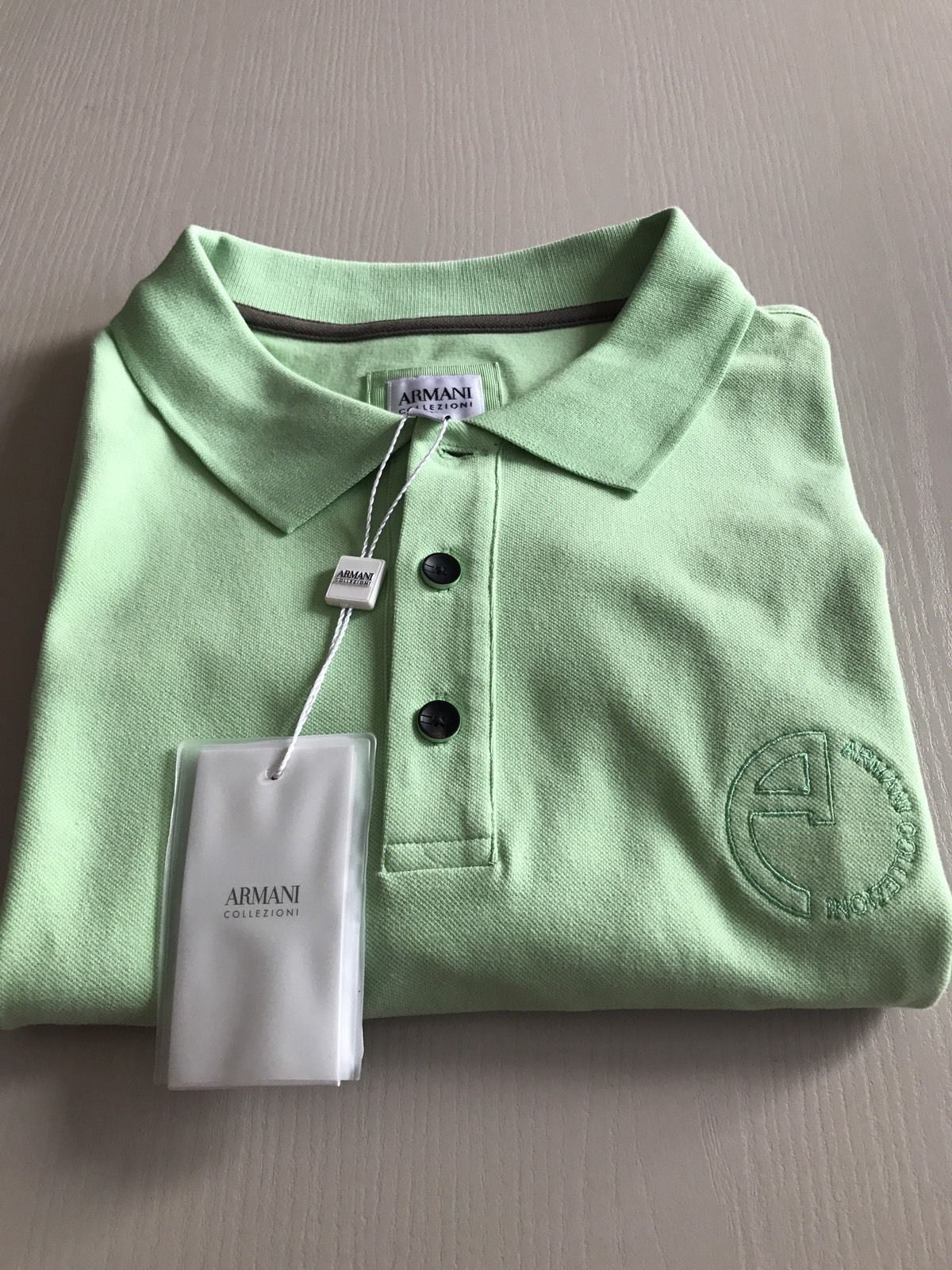 New $450 Armani Collezioni Men's Short Sleeve Polo Shirt LT Green XL US