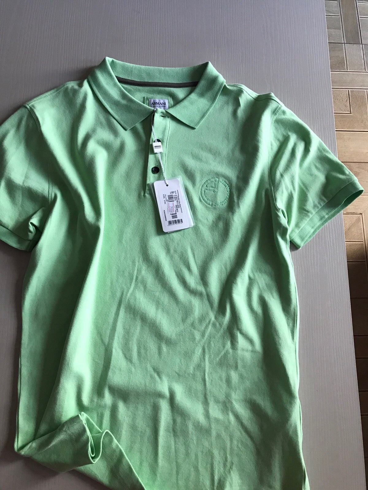 New $450 Armani Collezioni Men's Short Sleeve Polo Shirt LT Green XL US - BAYSUPERSTORE