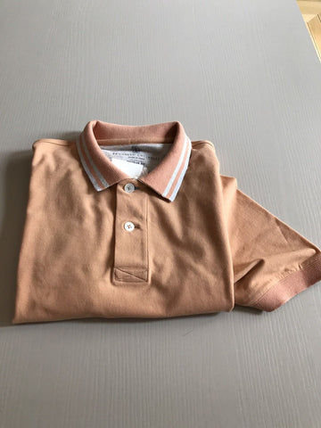 New $650 Brunello Cucinelli Men's Short Sleeve Polo Shirt Orange S US ( 48 Eu)