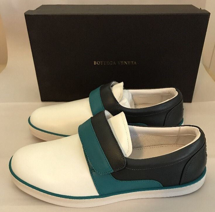 NIB Bottega Veneta Mens Leather Slip-on Sneakers  Canard/Ardo 8 US (41 EU) Italy - BAYSUPERSTORE