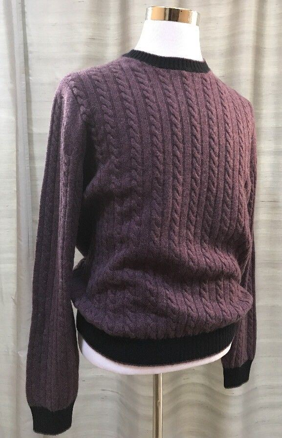 New $1195 Ermenegildo Zegna Crewneck Cashmere Sweater Purple XL US (54 Eur)Italy - BAYSUPERSTORE