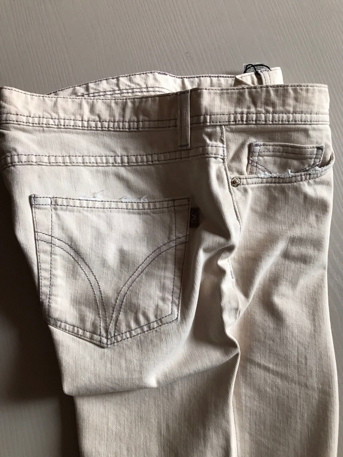 New $475 D&G Women's Pants Jeans Cream Size 31 Made In Italy