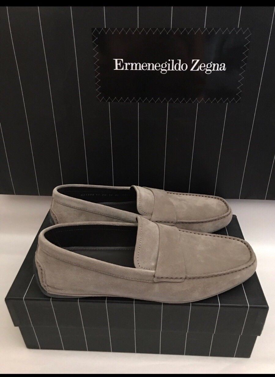 New $495 Ermenegildo Zegna Suede Driving Moccasins Beige 7.5 US Italy