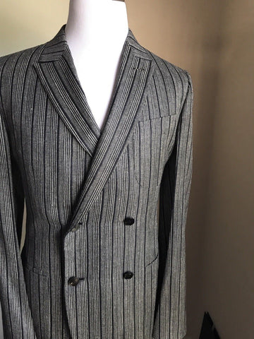 New $5185 Ermenegildo Zegna Couture Suit Blue Striped 40R US ( 50R Eur) Italy