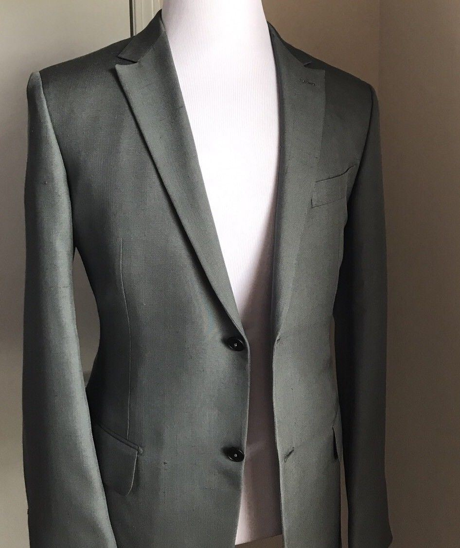 New $5995 Ermenegildo Zegna Couture Silk Suit Green/Silv 42R US ( 52R Eur) - BAYSUPERSTORE