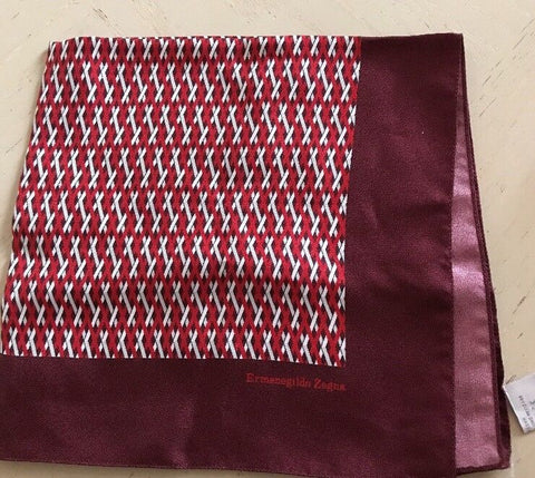 New $100 Ermenegildo Zegna Men's Pocket Square 100% Silk Red/purple Color Italy