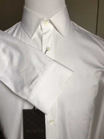 New$715 Gucci Men's Dress Shirt White Slim Fit 42/16.5 Italy