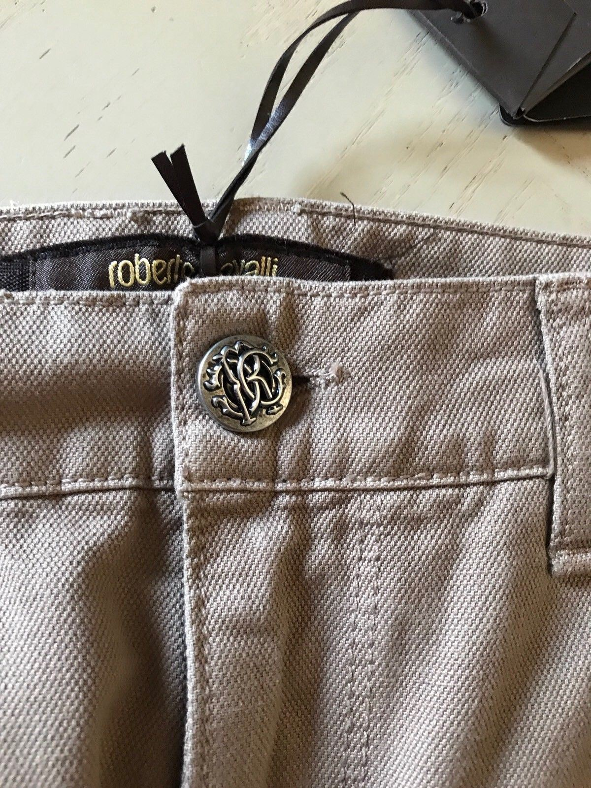 NWT  405 Roberto Cavalli Mens Pants Jeans LT Brown 32 US ( 46 Ita ) Italy f62d99be8