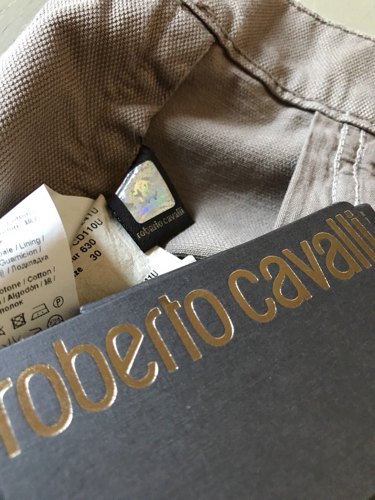 NWT $405 Roberto Cavalli Mens Pants Jeans LT Brown 32 US ( 46 Ita ) Italy - BAYSUPERSTORE