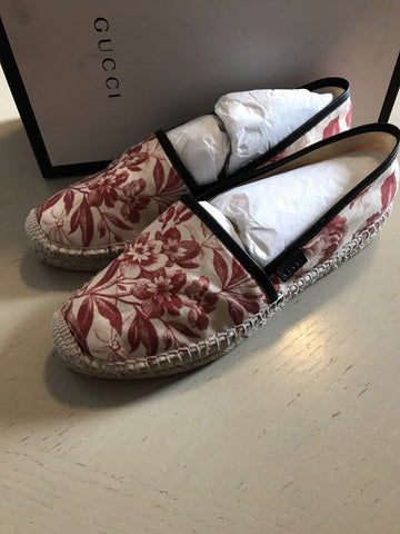 NIB $495 Gucci Women's Floral Flats Knight Shoes Red 8.5 US ( 38.5 Eu )