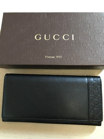 New $675 Gucci Women's Margaux Calf/Microguccissima Black Wallet 256434