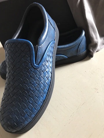 NIB $1180 Bottega Veneta Mens Python Skin Sneakers Shoes Blue 8 US ( 41 EU) - BAYSUPERSTORE