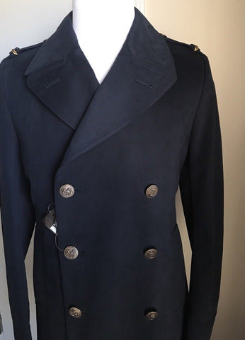 New $2645 Gucci Mens Coat Trench Coat Reefer Coat Blue/Black 40R US ( 50R Eu )