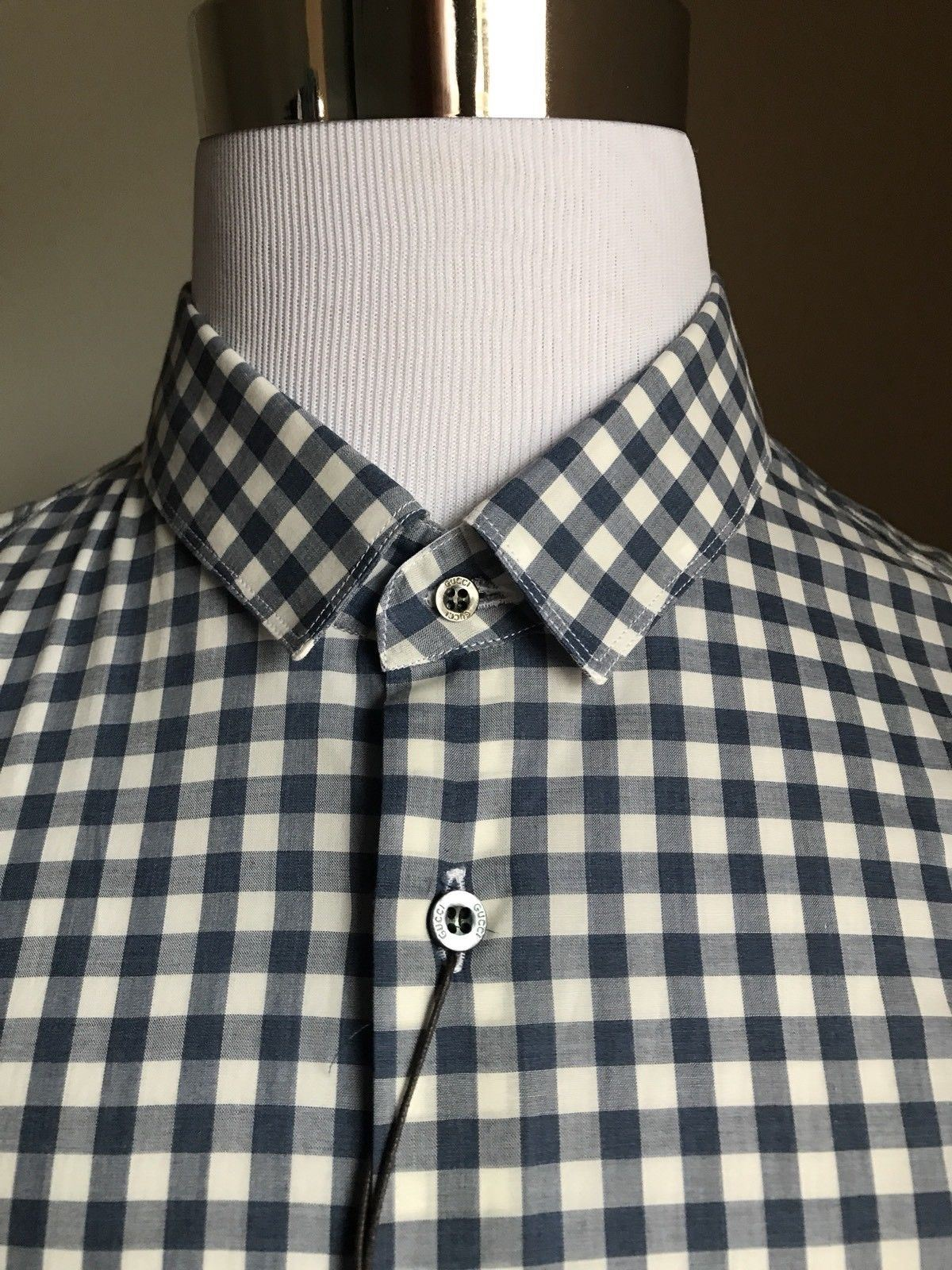New $675 Gucci Men's Dress Shirt Skinny Blue 44/17.5 Italy - BAYSUPERSTORE