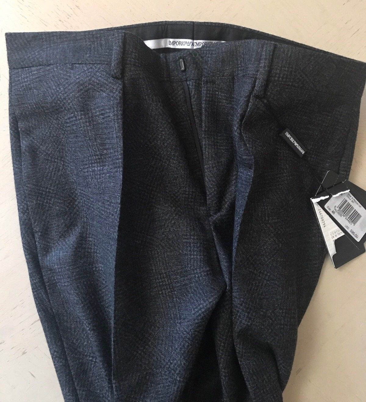 NWT $595 Emporio Armani Mens Dress Pants Dark Gray 30 US ( 46 Eu ) Italy - BAYSUPERSTORE