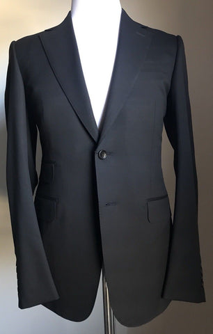 New $3250 Gucci Classic Suit Super 140S Wool Dark Black 42R US ( 52R Eu) Italy