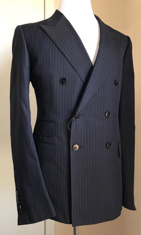 New $3255 Gucci Mens Double Breasted Suit Caspian Blue Striped 44R US ( 54R Eu) - BAYSUPERSTORE