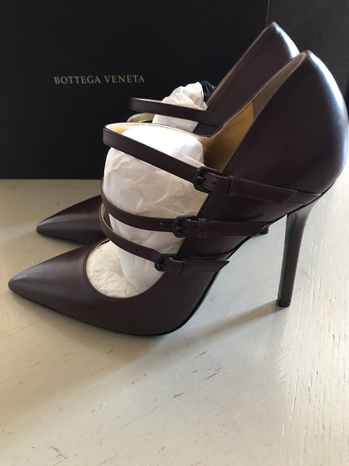 NIB $740 Bottega Veneta Women's Leather Shoes Burgundy 9 US ( 39 Eu ) 443156 - BAYSUPERSTORE