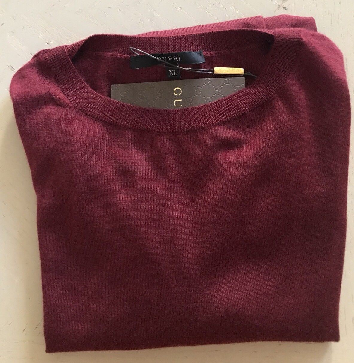 New $980 Gucci Mens Crewneck Cashmere W/GG EMB Sweater Burgundy XL Italy - BAYSUPERSTORE